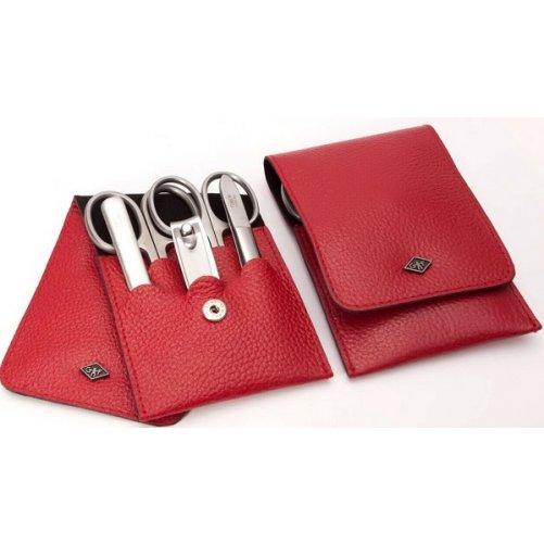 Kit de manucure 5 pièces en cuir rouge