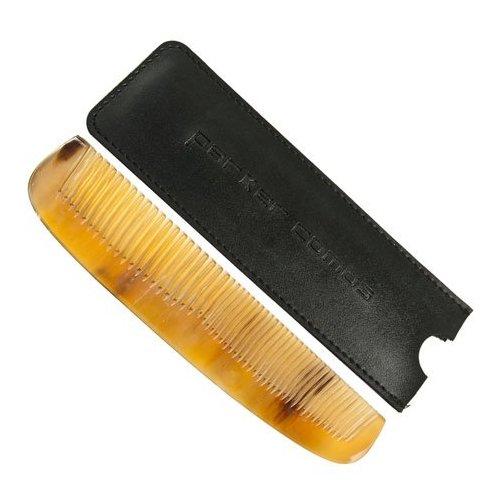 Peigne cheveux et barbe en corne avec étui cuir