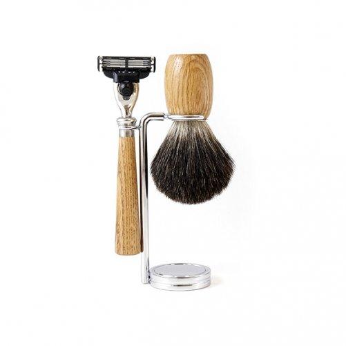 Set à raser Mach3 en Chêne Gentleman Barbier