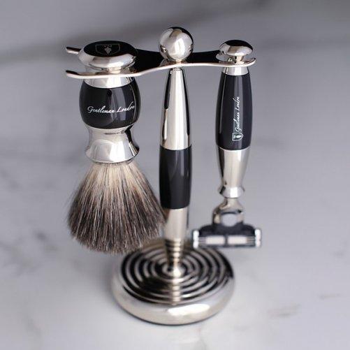 Set de rasage Gentleman London, poils gris